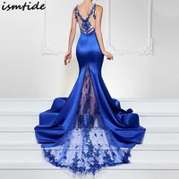 Mermaid Maxi Dress Women Embroidered Mesh Club Party Dress Spaghetti Strap Deep V Neck Sexy A Line Backless Long Lace Dress