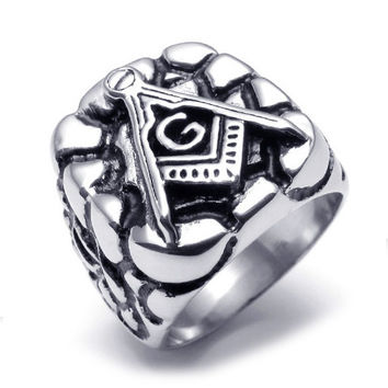Titanium Steel Black Masonic Sign Ring -Size 13