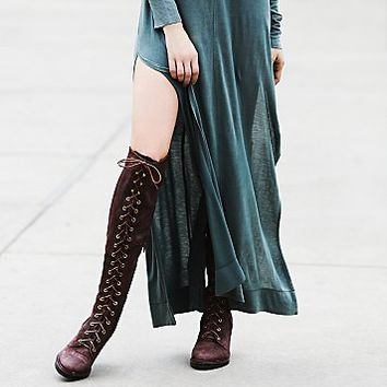 Jeffery Campbell for Free People Womens Jesse Lace Up Over The Knee Boot