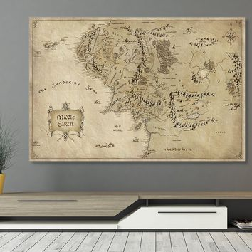 LOTR Middle Earth Framed Canvas Wall Art