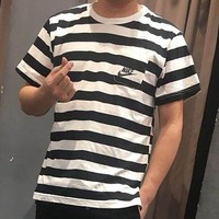 Nike short sleeved men summer new sports leisure comfort breathable round collar stripes T-shirt