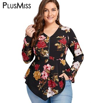 PlusMiss Plus Size 5XL Zipper Floral Flower Print Blouse Shirt Women Long Sleeve Tunic Peplum Chiffon Tops Blusas