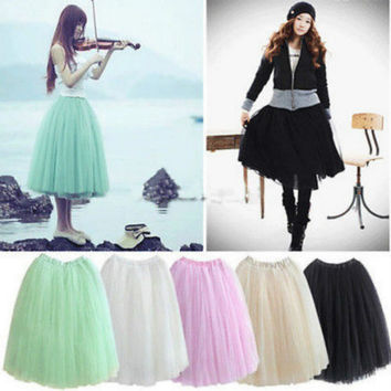 Girl lace Bubble skirt Women Princes Fairy 5 layered Tulle  Skirt  Bouffant Mesh Tutu  Skirt