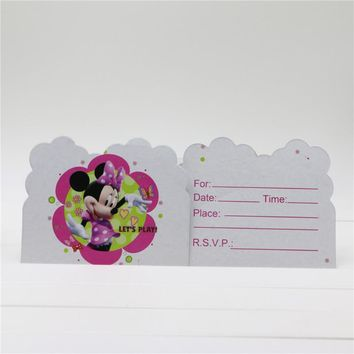 10pcs/lot minnie mouse theme invitation card 11*14cm for girls birthday party decoration supplies baby shower favor