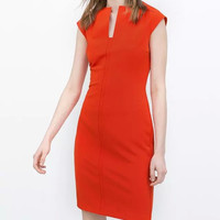 Orange V-Neck Cap-Sleeve Zipper Back Bodycon Dress