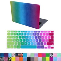 "HDE MacBook Air 13"" Case Hard Shell Cover Designer Art Pattern + Keyboard Skin - Fits Model A1369 / A1466 (Watercolor Rainbow #1)"