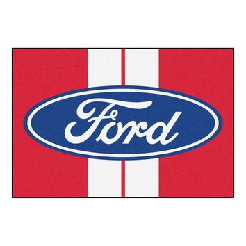 Ford Oval with Stripes Rug 5x8 - Red