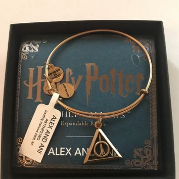 Alex Ani Harry Potter Deathly Hallows Charm Bangle Gold Finish New
