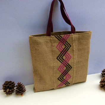 Burlap tote bag, cross stitched  with tribal pattern by hand , one of a kind  beach tote bag, handmade tote bag, Casual Tote Bag