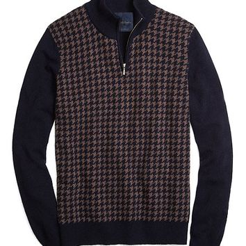 Cashmere Large Houndstooth Half-Zip Mockneck Sweater - Brooks Brothers
