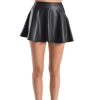 In love with these Faux Leatherette Skater Skirt. This skater skirt features smooth stretch faux leather fabrication, and concealed zip closure at back. Pair with semi-sheer stocking, oversize sweater and cool boots.