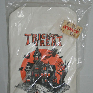 Halloween Vintage Trick or Treat Bags with Haunted House and Kids Costumes Unopened Package of 40 Topstone Industries Paper Treat Bags 60s