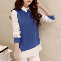Blue and White Long Sleeve Shirt Collar Twinset Sweater