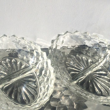 Vintage American Fostoria Glass Divided Oval Pair Serving Bowls