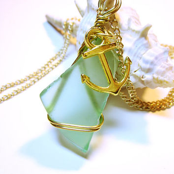 Blue Nautical Jewelry, Wrapped Sea Glass Pendant, Nautical Pendant, Sea Glass Necklace, Wrapped Sea Glass, Nautical Necklace, Blue Sea Glass