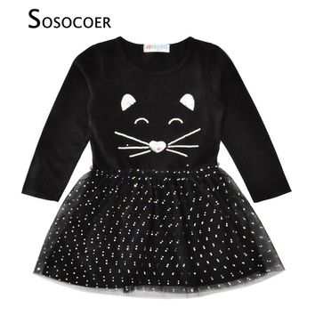 SOSOCOER Girl Princess Dress Sequined Cat Face Children Dresses Girls Clothes Autumn Cartoon Animal Polka Dot Kids Dress Costume