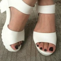 Diana White Mid Heel Sandals