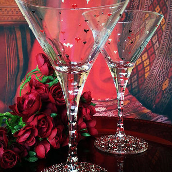 Set of 2 hand painted martini  glasses Valentine hearts in red, black and white color