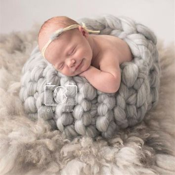 Thick Wool Chunky Blanket Newborn Photo Costume Crochet Basket Photo Shooting Knit Egg Shell Cocoon Baby Photography Backdrop