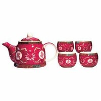 Beautiful Asian Porcelain Tea Set in Fuchsia - Includes Diffuser and 4 Cups - A Tea Drinkers Delight!