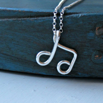 Sterling Silver Music Note Necklace Music Lover Piano Teacher gift