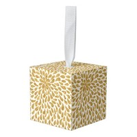 Golden Abstract Cube Ornament
