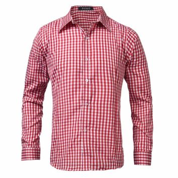 Spring Autumn Men Long Sleeve Shirt Casual Brand New Formal Business Office Plaid Mens Lapel Dress Shirts Male Top Chemise 2017