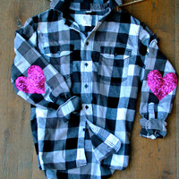 Sequin Flannel Shirt w Sequin Heart Elbow Patch Boyfriend Buffalo Plaid Flannel Grunge  Elbow Patches Womens Flannel Shirt 90s Inspired