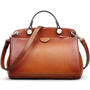 Women Genuine Leather Handbag Top-handle Tote Cross Body Shoulder Messenger Bag, M803Brown