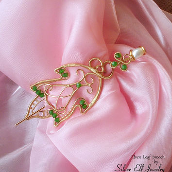 Elven Leaf brooch, LOTR brooch, Elf brooch, wire brooch, wire leaf, LOTR jewelry, elven jewelry, Galadriel gift, Cosplay jewelry