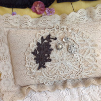 Darling lace 1940s lace boudoir pillow, vintage lace pillows, cottage pillows, shabby chic pillows