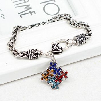 US Seller Autism Cuff Bracelet Charm Bangle Heart Puzzle Piece Pendant Chain WXF