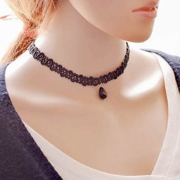 Gift Jewelry Shiny  Stylish Korean Ladies Simple Design Innovative Water Droplets Style Choker [7587085511]