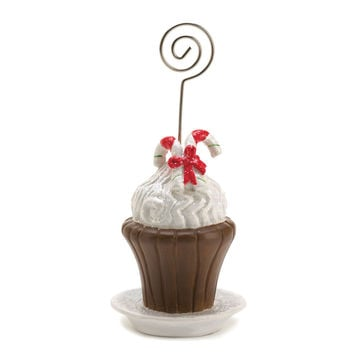 Koehler Winter Seasonal Christmas Candy Cane Cupcake Design Table Desk Display Round Top Place Greeting Wedding Menu Card Holder