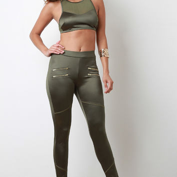 Athleisure Zipper Fitted Leggings