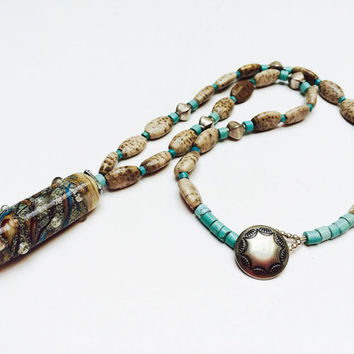 Pendant necklace, Lampwork beaded necklace, beach, boho, southwestern, turquoise, beige, button necklace, OOAK