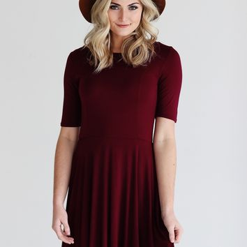 Burgundy PIKO Half Sleeve Skater Dress
