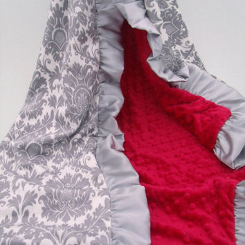 ON SALE Gray Damask and Red Minky Dot Blanket.....more colors available