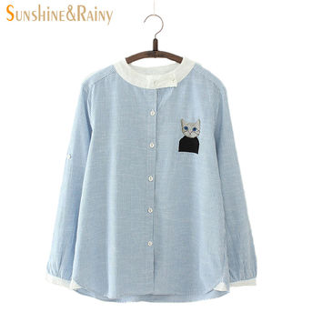 Japanese spring new arrivals hedging striped kitten patch lace shirt women long sleeve cat embroidery women blouses Oblique