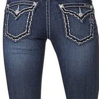 Miss Me DK 334 Scalloped Edge Bold Stitch Relaxed Skinny Jeans