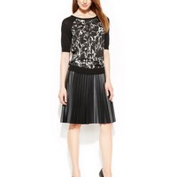 Calvin Klein Printed Colorblock Top & Faux-Leather Pleated Skirt