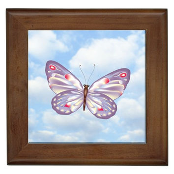 Light Purple Butterfly Framed Tile