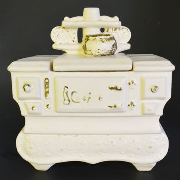 McCoy Pottery White Cookie Jar Stove Oven, McCoy USA Cookie Jar, 1960's Rustic Cookie Jar