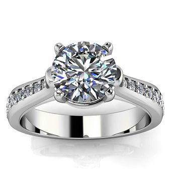 Diamond Accented Moissanite Engagement Ring - Kennedy