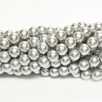 Silver 6mm glass beads, 6mm glass pearls, 6mm faux pearls, silver pearls, 6mm pearls, glass pearls, jewellery supplies, jewelry supply, S106