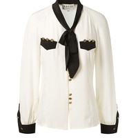 MAISON MAYLE SILK TOP EMBELLISHED WITH GOLD DETAILS