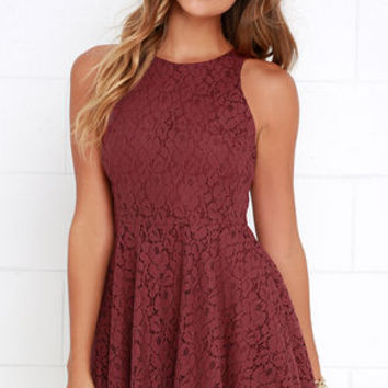 Lucy Love Hollie Jean Maroon Lace Skater Dress