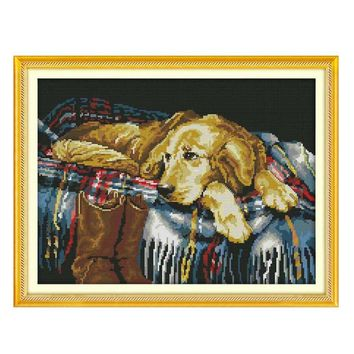 DIY Handmade Needlework Counted Cross Stitch Set Embroidery Kit 14CT Faithful Dog
