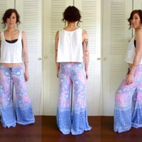 Sunflower Drawstring Beach Lounge Hippie Pant Pink White Blue Floral Bell Bottoms