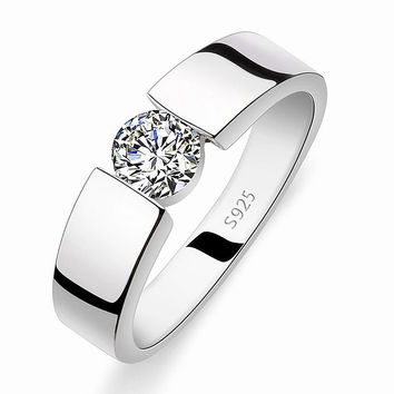 Never fade 2016 new silver jewelry wedding men rings jewelry fashion rings for mens couple ring
